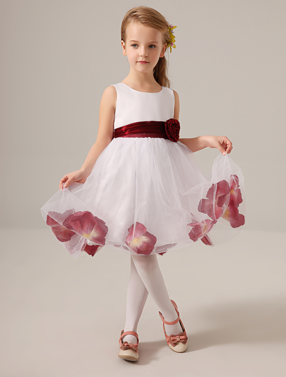 Buy White Jewel Neck Knee-Length Flower Tulle Flower Girl Dress for $62.99 in Milanoo store
