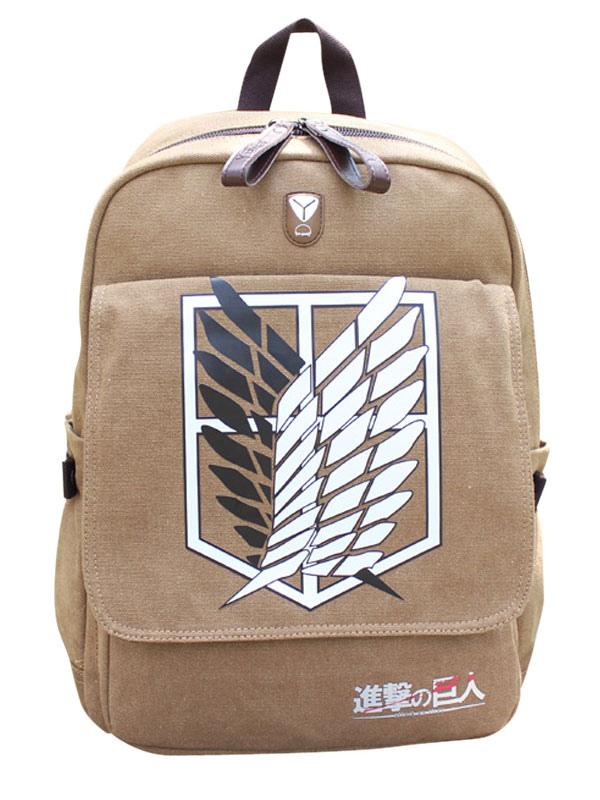 Attack on Titan Shingeki no Kyojin Khaki Survey Corps Scout Regiment Logo Computer Backpack  Halloween