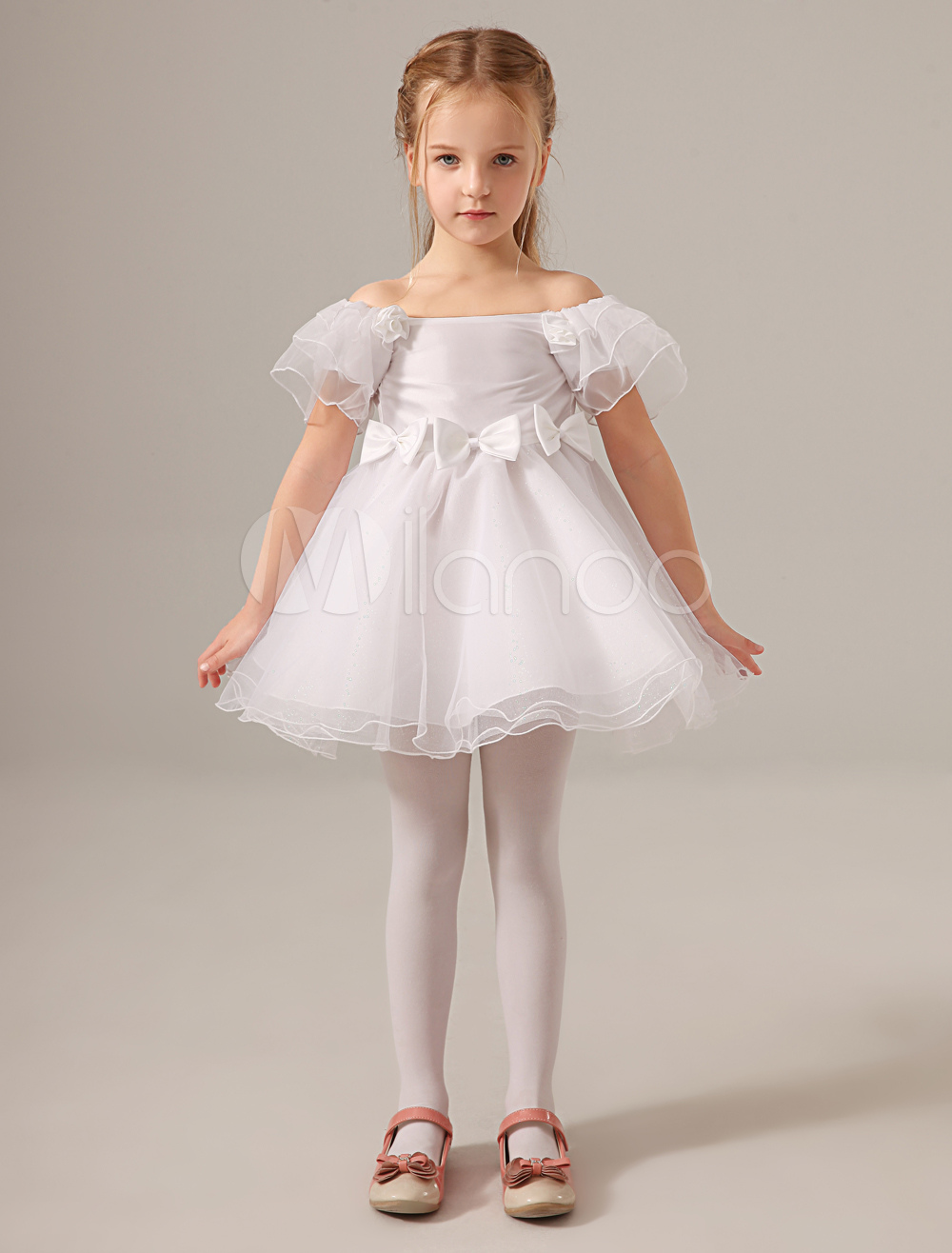 Cute White Off-The-Shoulder Petal Sleeves Flower Tulle Flower Girl Dress