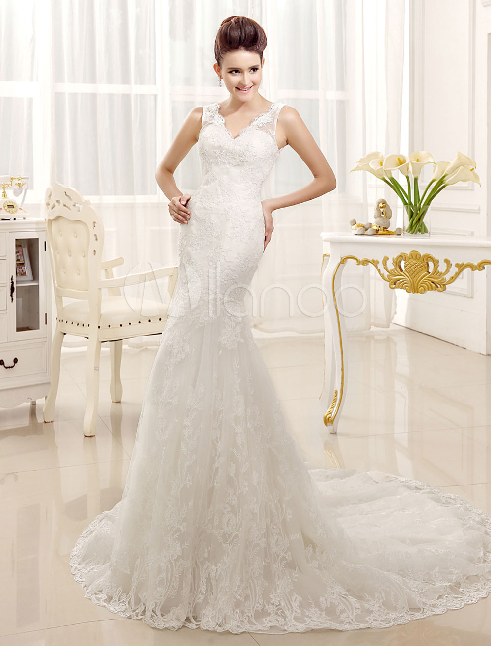 Lace Wedding Dresses Mermaid V Neck Bridal Gown Sleeveless V Back Ivory Bridal Dress With Train
