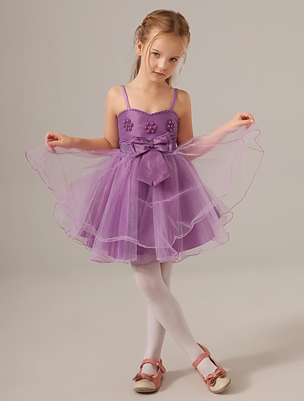 Lavender Straps Neck Pearls Lovely Flower Girl Dress
