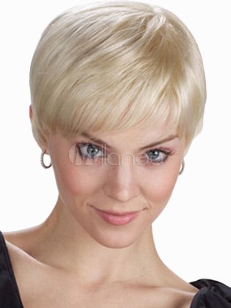Blonde Heat-resistant Fiber Pixies and Boycuts Womans Short Wig