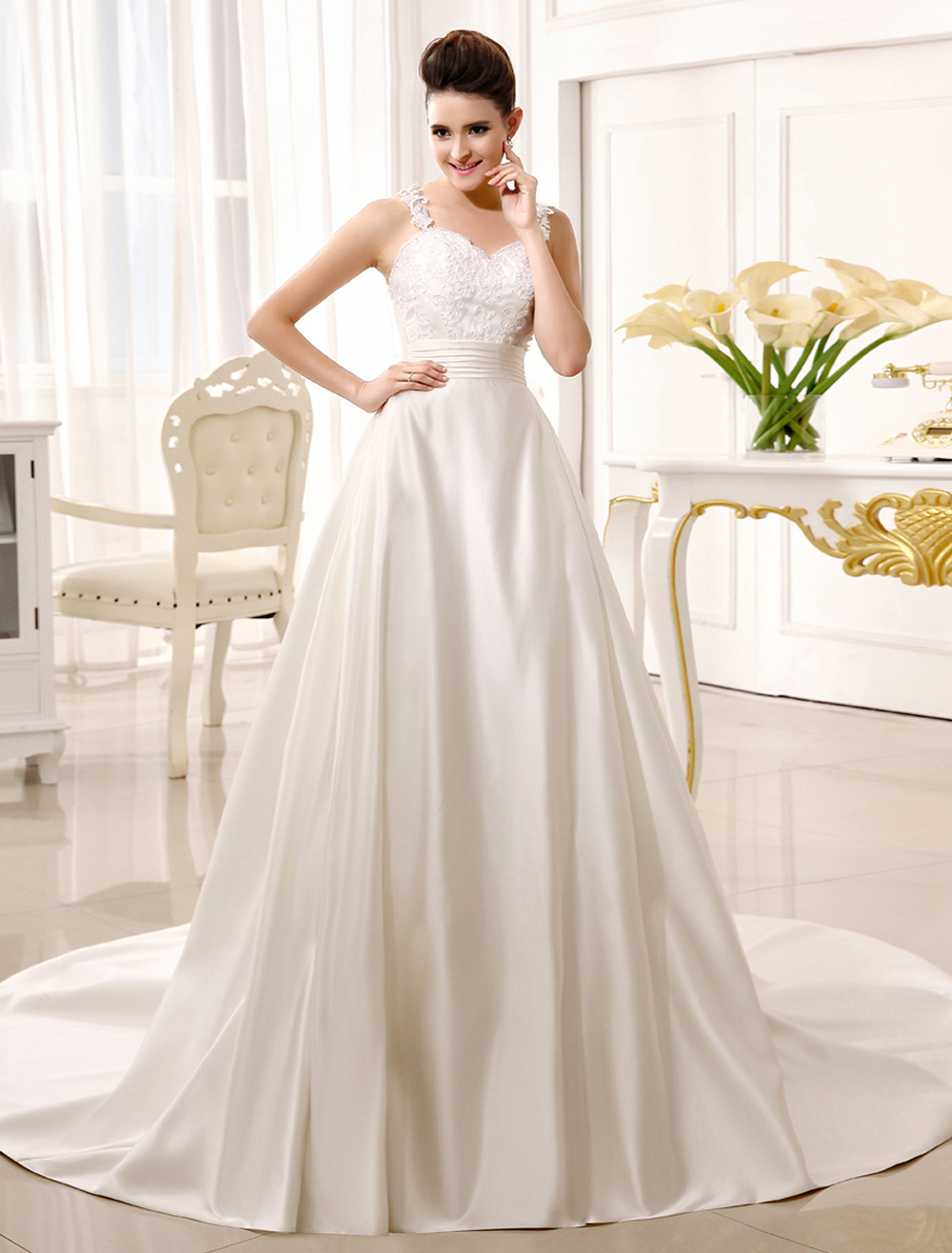 Ivory A-line Sweetheart Neck Spaghetti Strap Pleated Wedding Dress