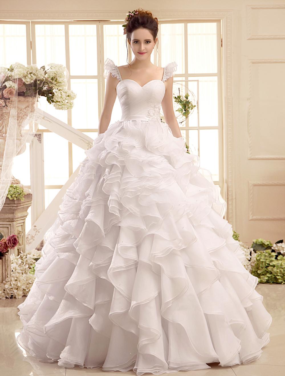 Sweetheart Neck Applique Floor-Length Ivory Wedding Dress For Bride Milanoo