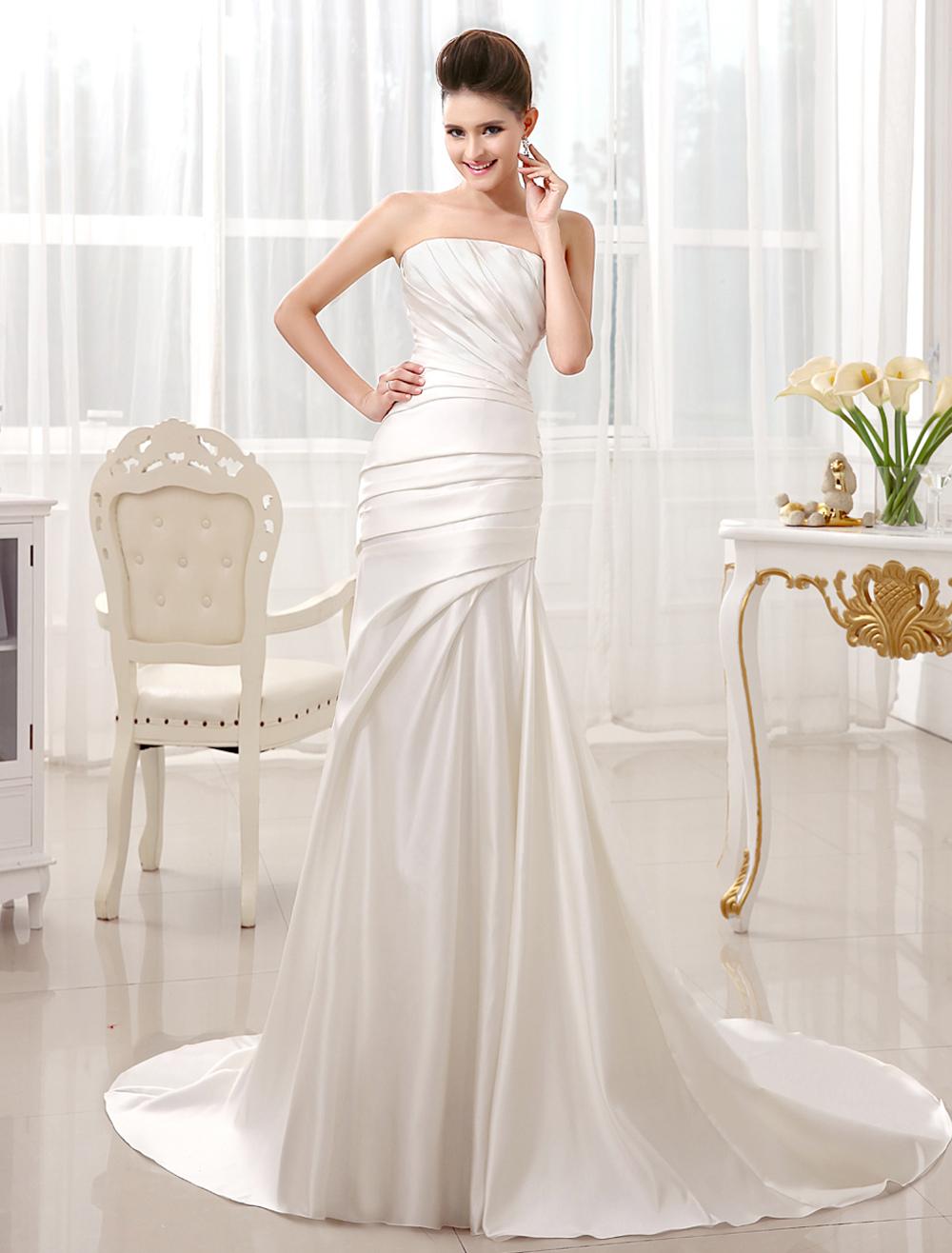 Ivory Mermaid Court Train Bridal Wedding Dress with Strapless