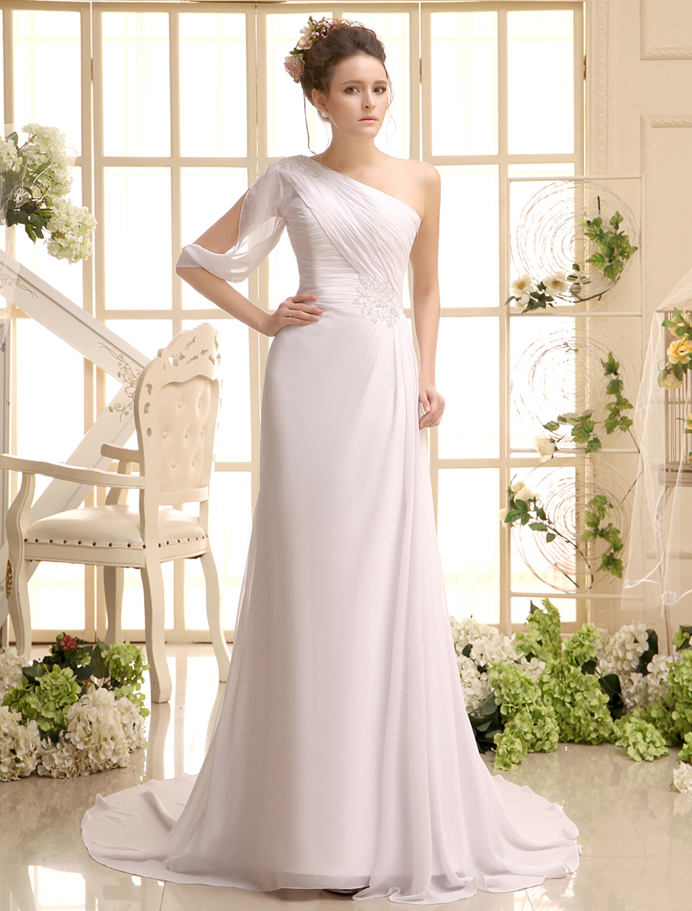 Ivory A-line Ruched Bridal Wedding Gown with One-Shoulder