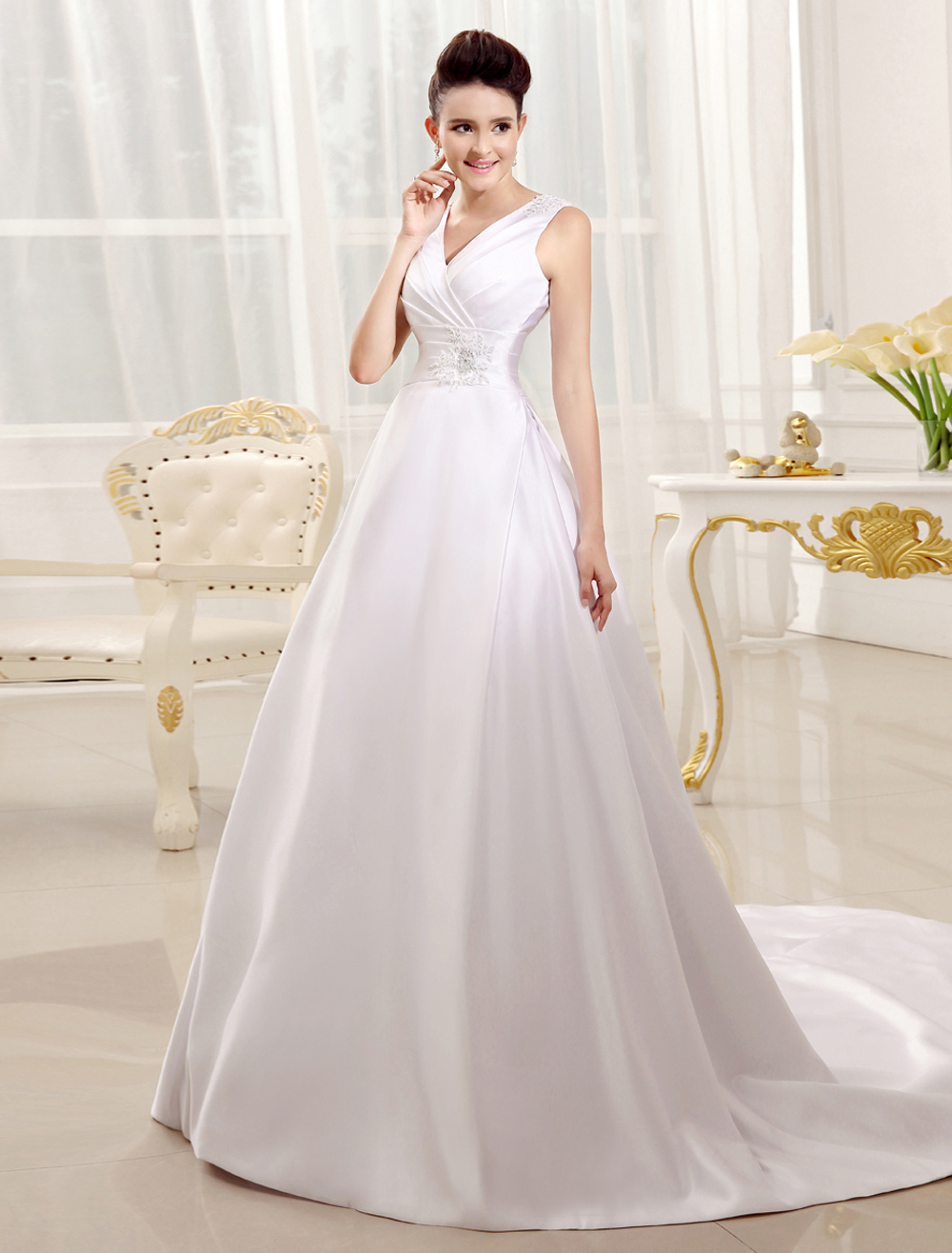 White Chapel Train Bridal Wedding Dress with V-Neck A-line Ruched