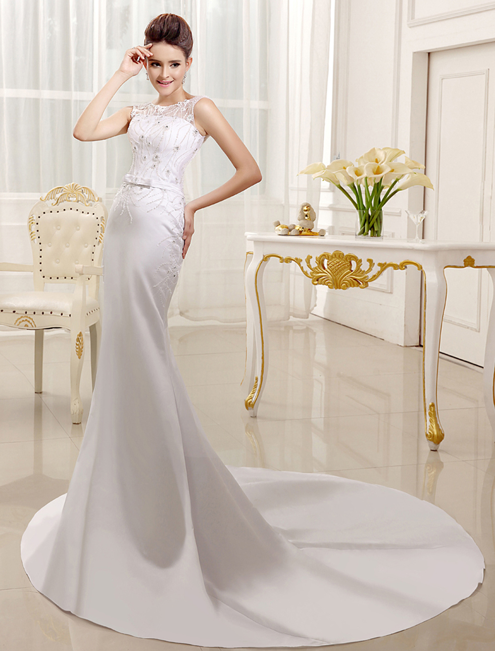 Court Train White Bridal Wedding Dress with Jewel Neck Buttons Satin