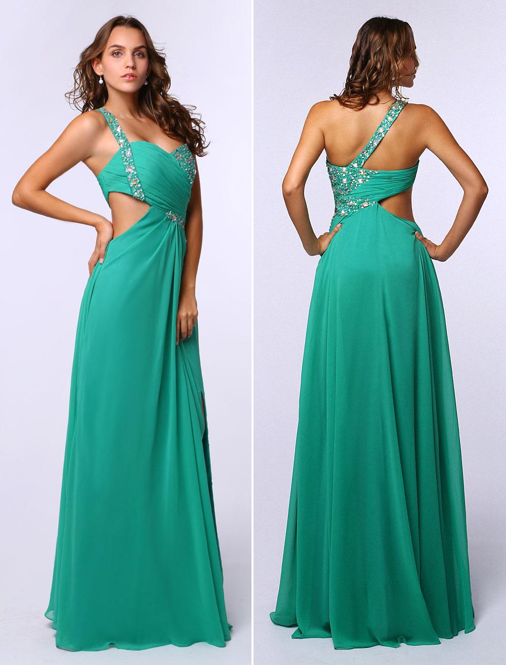 buy popular 42178 e99d3 Abito verde blu cinghie senza maniche in chiffon partito A linea monospalla