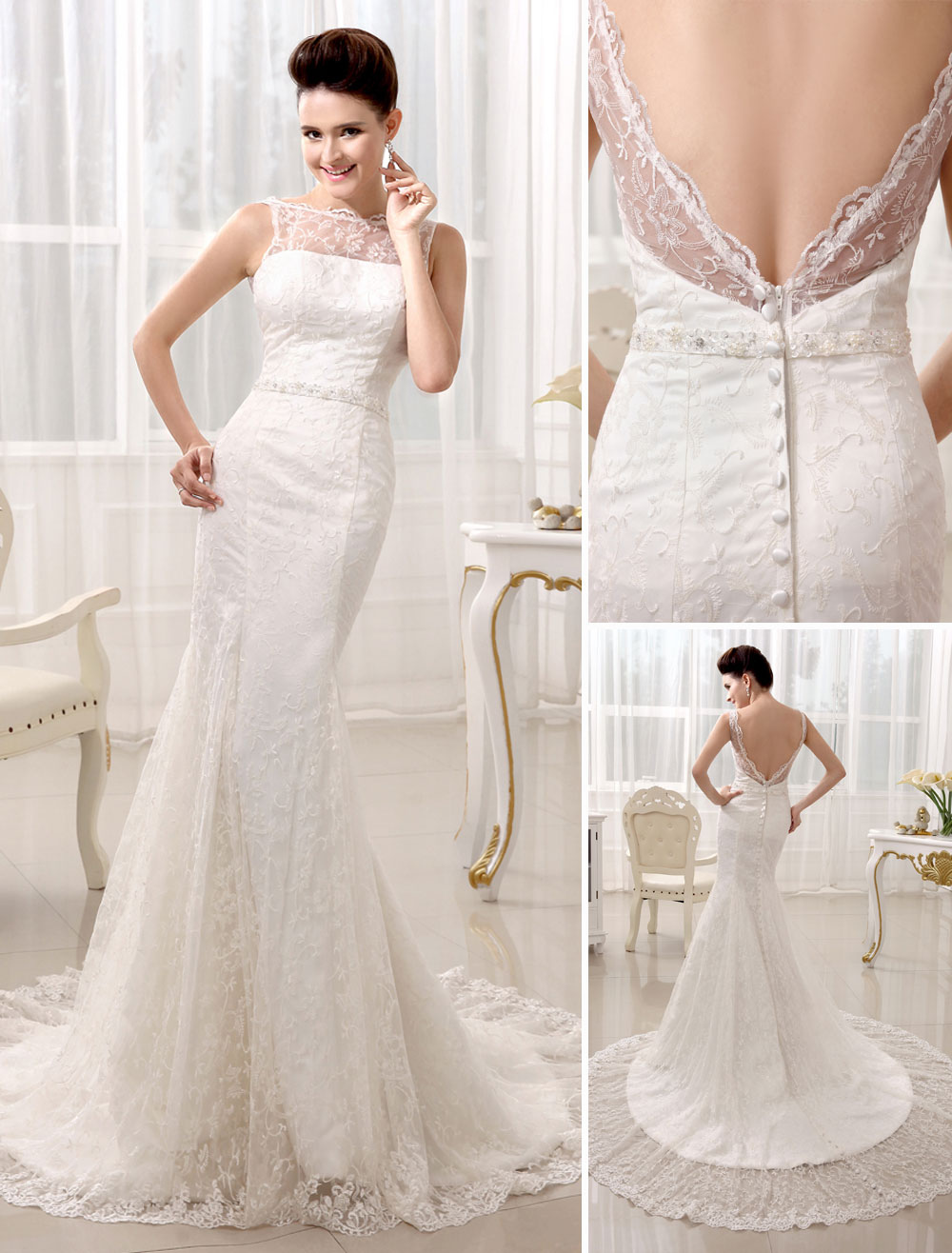 Bateau Neck Buttons Lace Court Train Ivory Bridal Wedding Dress