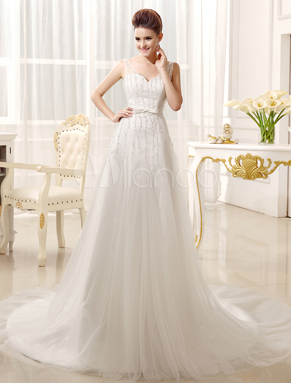 Brides Wedding Dress with V-Neck A-line Spaghetti Strap Beading