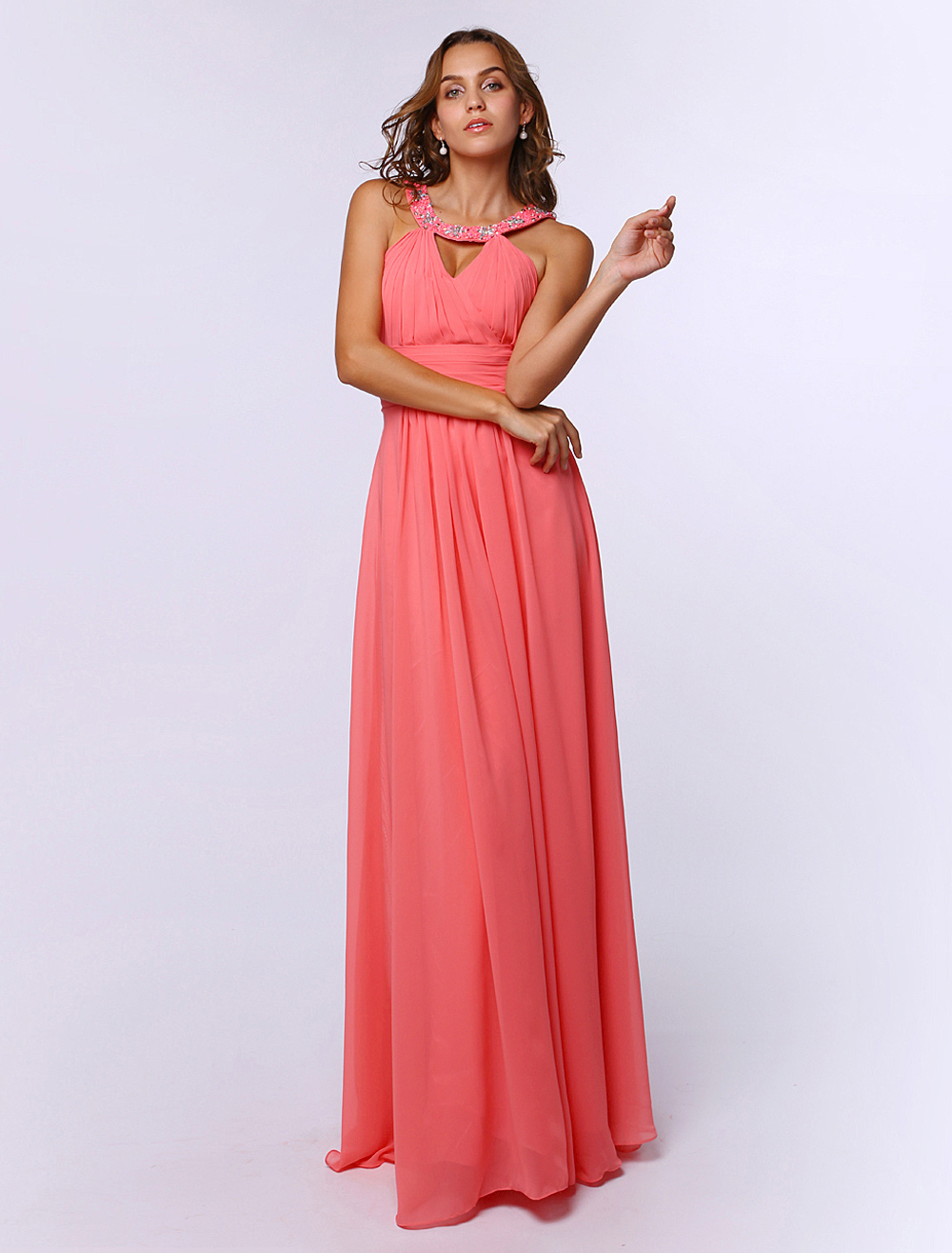Fabelhaftes Prom-Kleid aus Chiffon mit Kunstdiamanten in ...