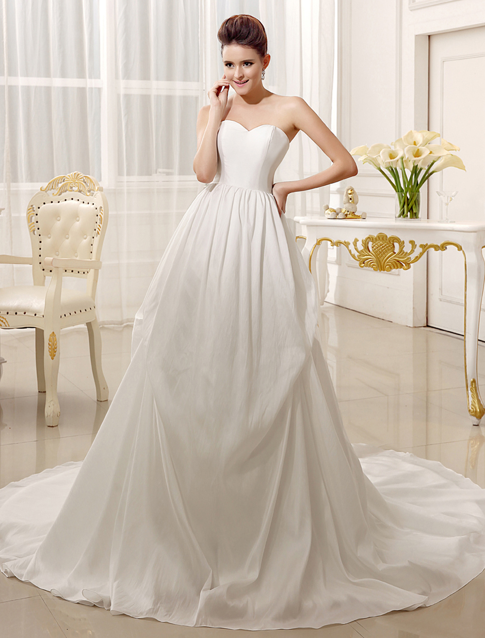 A-line Sweetheart Neck Strapless Court Train Ivory Bridal Wedding Gown