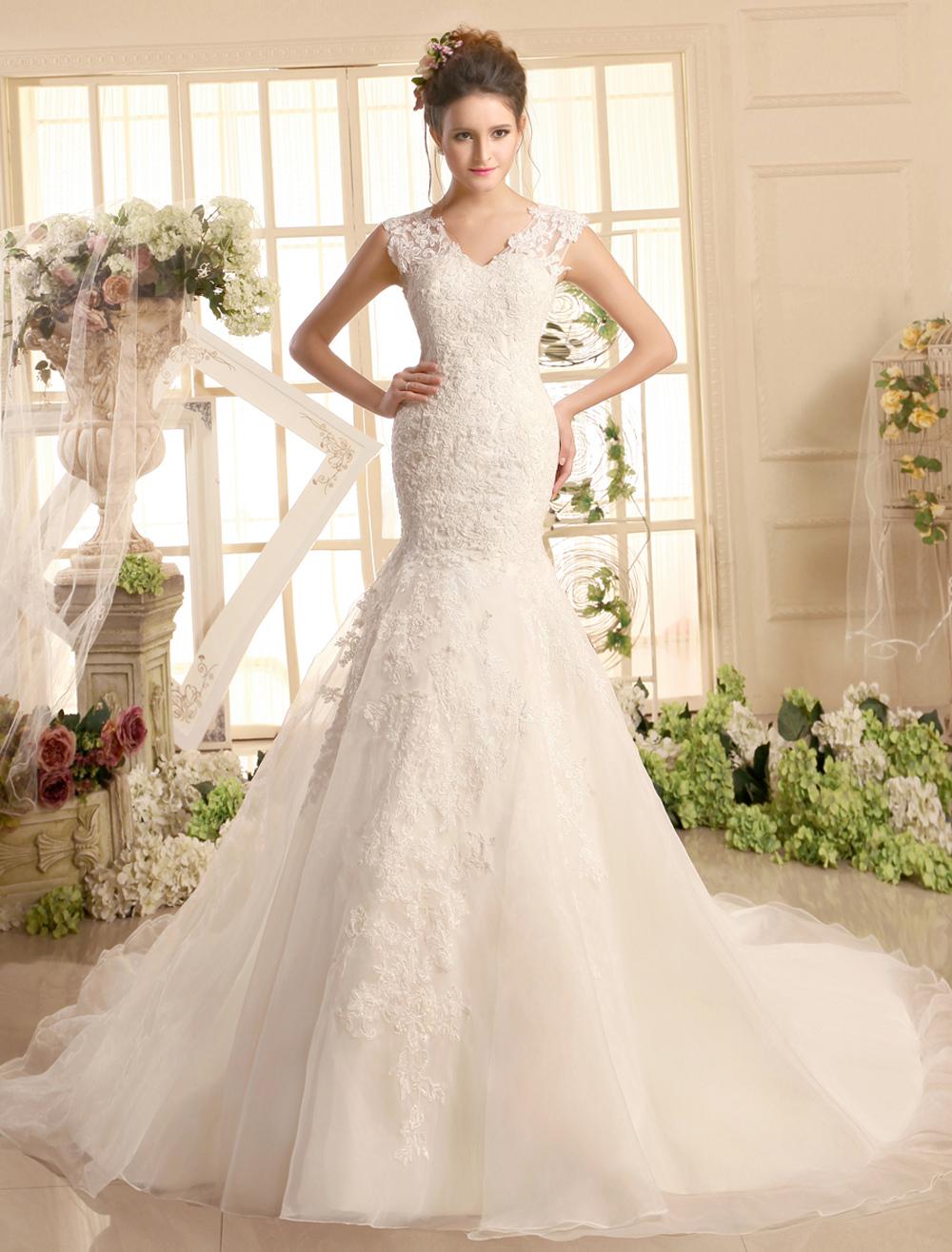 Wedding Dresses Lace V Neck Mermaid Bridal Dress Ivory Illusion Organza Wedding Gown