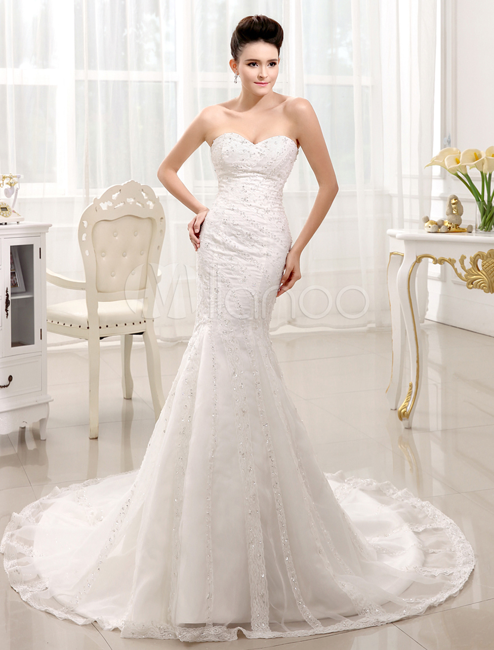Beaded Wedding Dress For Bride with Sweetheart Neck Mermaid Strapless