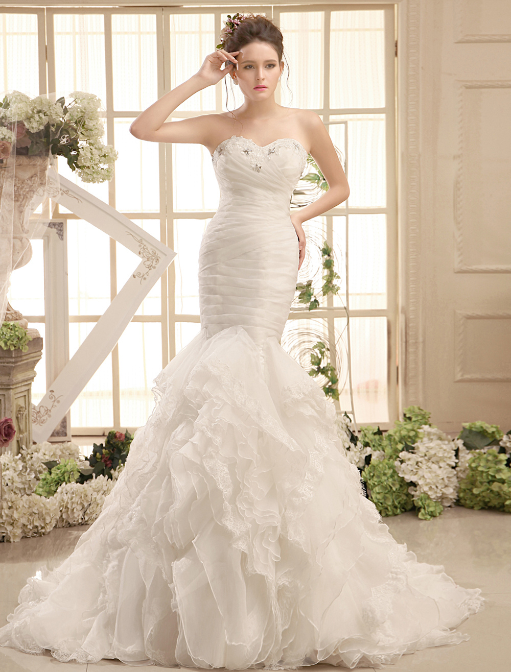Buy Ivory Mermaid Court Train Organza Bridal Wedding Gown with Sweetheart Neck for $273.59 in Milanoo store