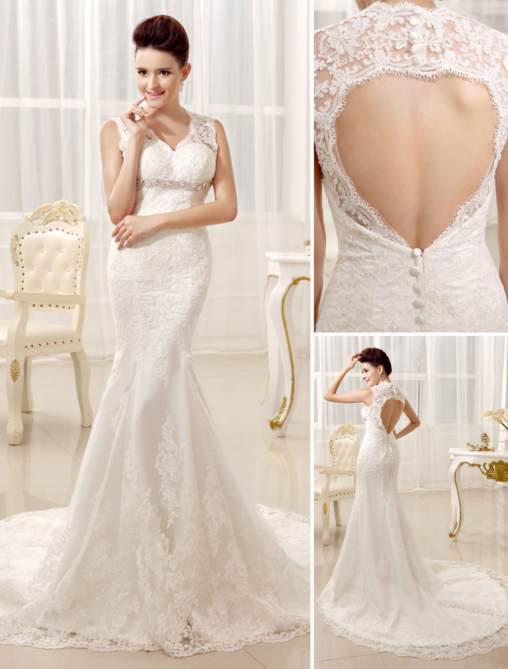 Mermaid Beaded Halter Lace Elegant Bridal Wedding Gown