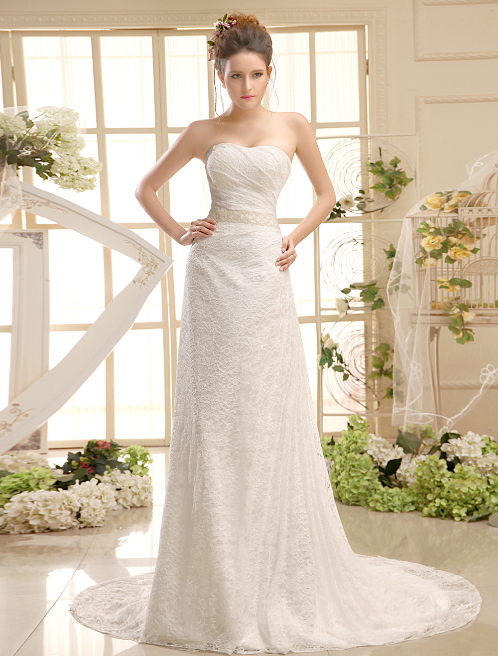 Court Train Ivory Wedding Gown with Strapless A-line Strapless Pearls