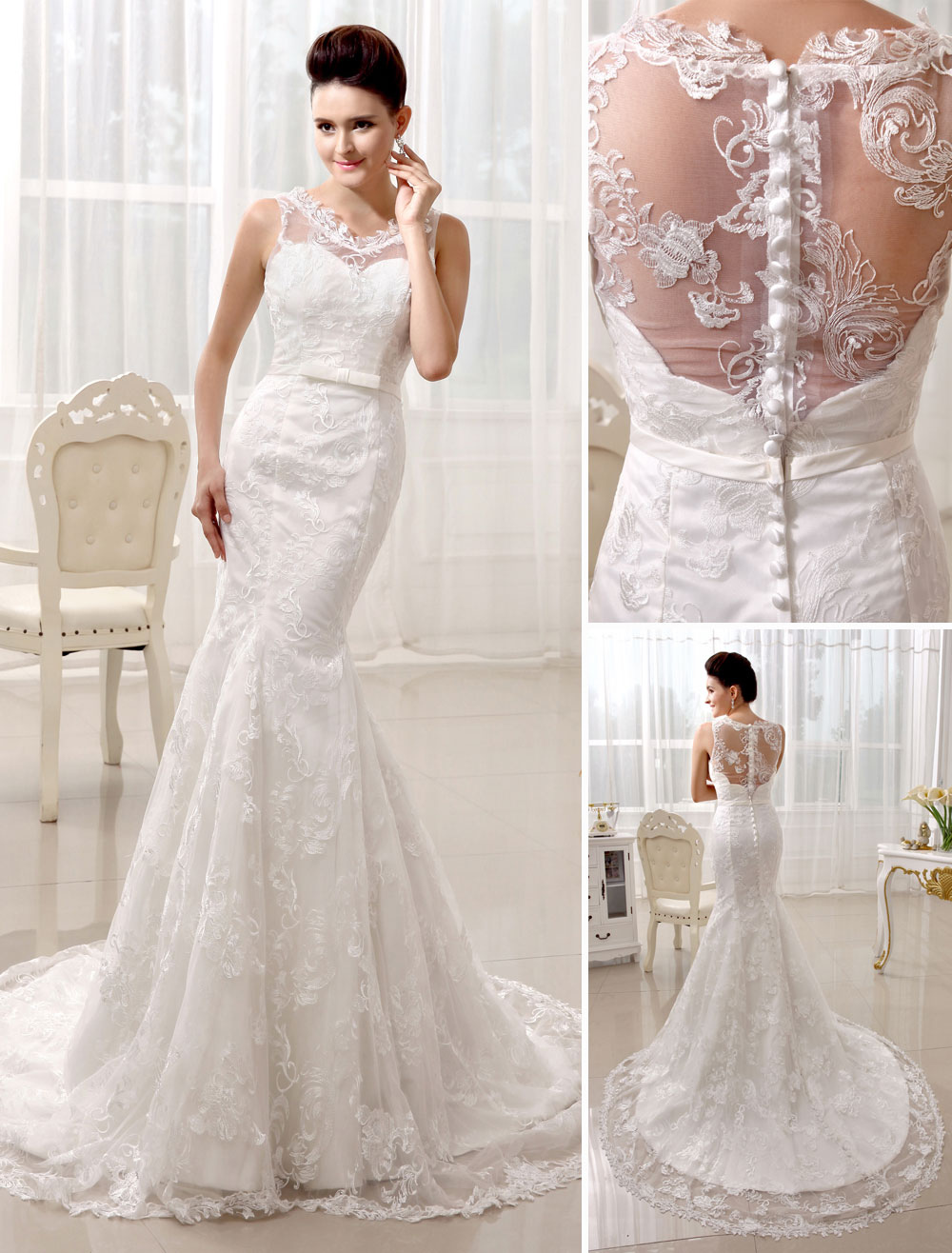 Court Train Ivory Wedding Dress For Bride with V-Neck Mermaid Buttons