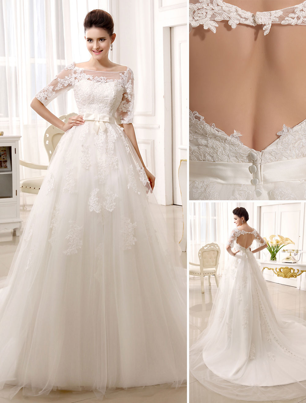 Ivory Tulle Lace Backless Chapel Train Wedding Dress with Lovely Bowknot