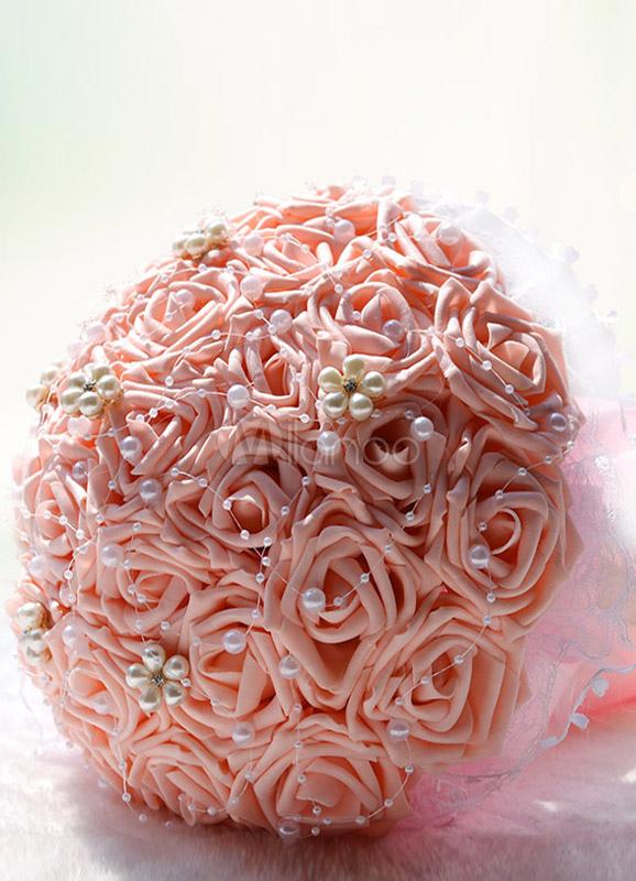 Round Pearls Satin Wedding Bouquet