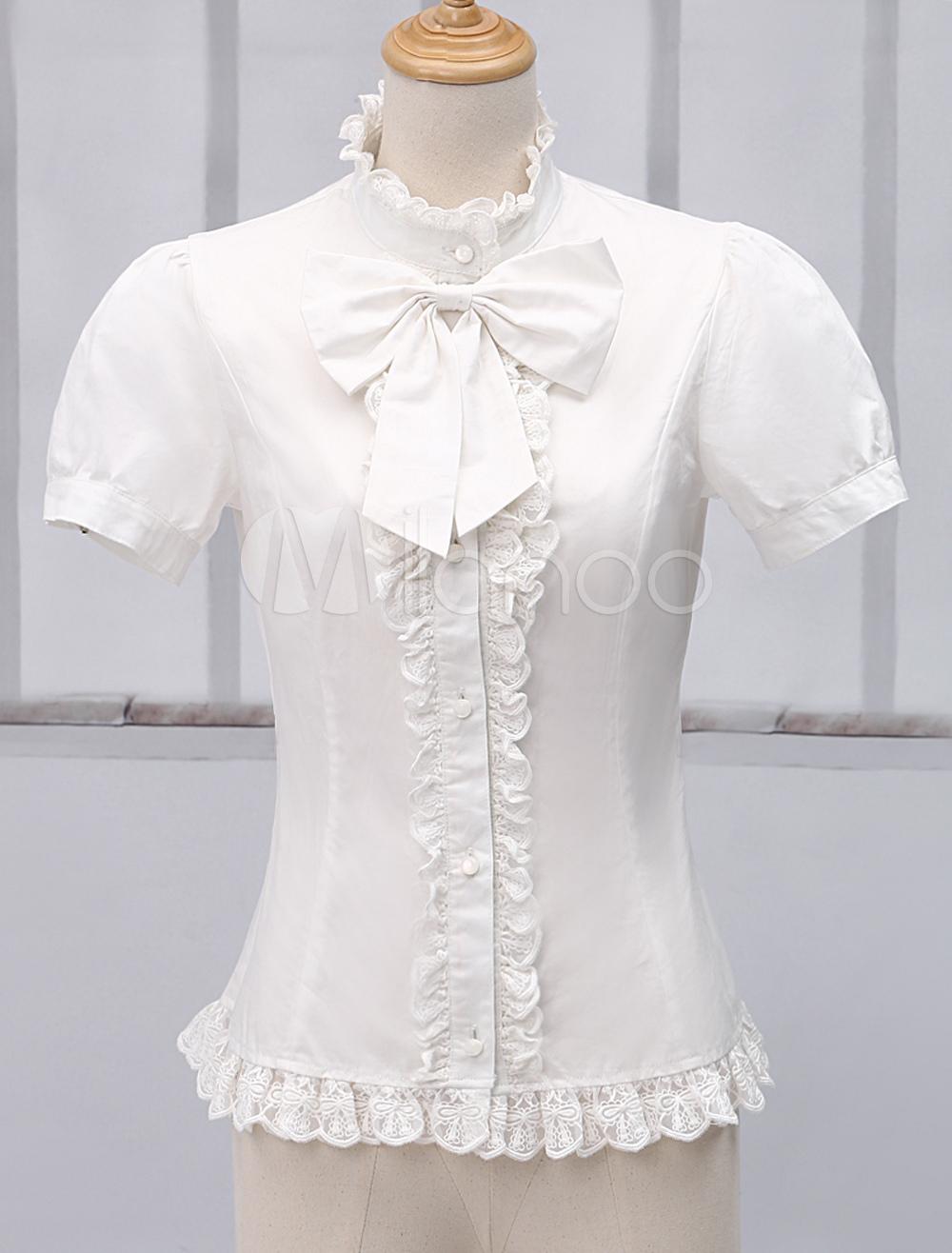 White Short Sleeves Pure Cotton Lolita Blouse