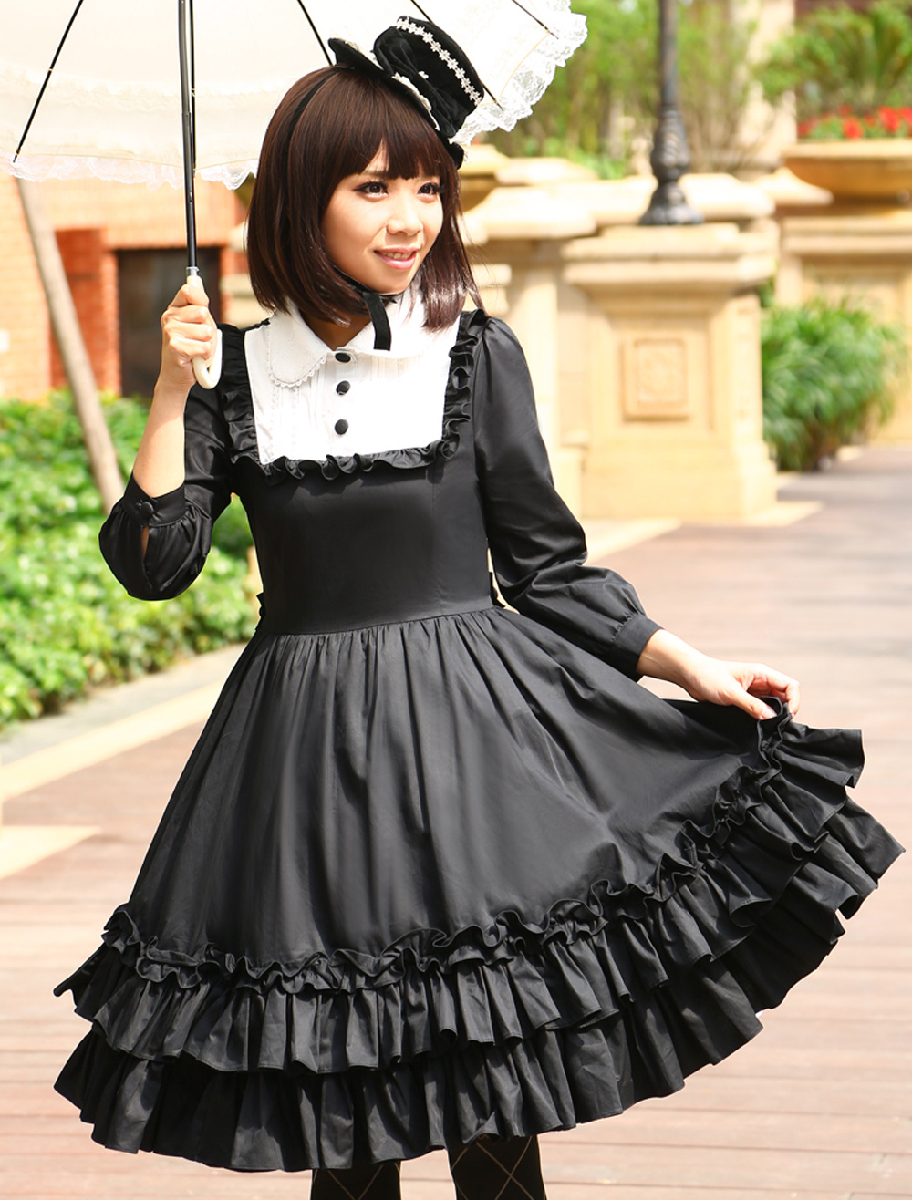 Buy Gothic Black Loltia One-piece Dress Long Sleeves Layered Ruffles for $77.99 in Milanoo store