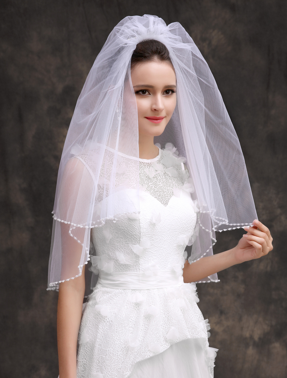 White Polyester Two-Tier Classic Edge Pearls Bridal Wedding Veil