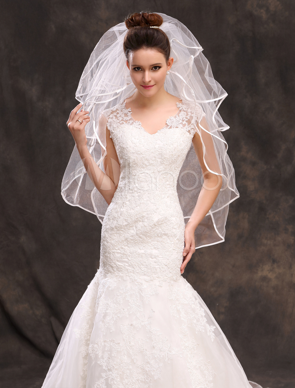 White Tulle Classic Four-Tier Bridal Wedding Elbow Veil with Comb