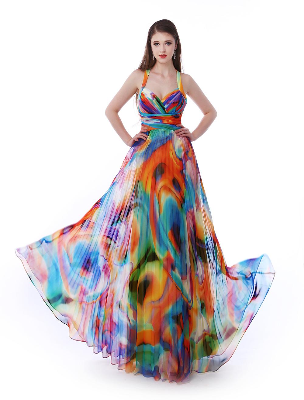 Milanoo / Long Prom Dresses 2017 African Print Prom Dress Halter Floral Print Cross Back Chiffon Party Dress M