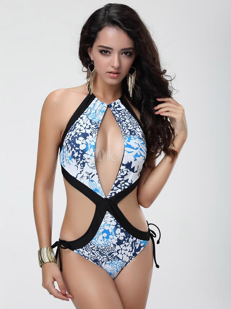 Printed Cut Out Monokini Swimsuits