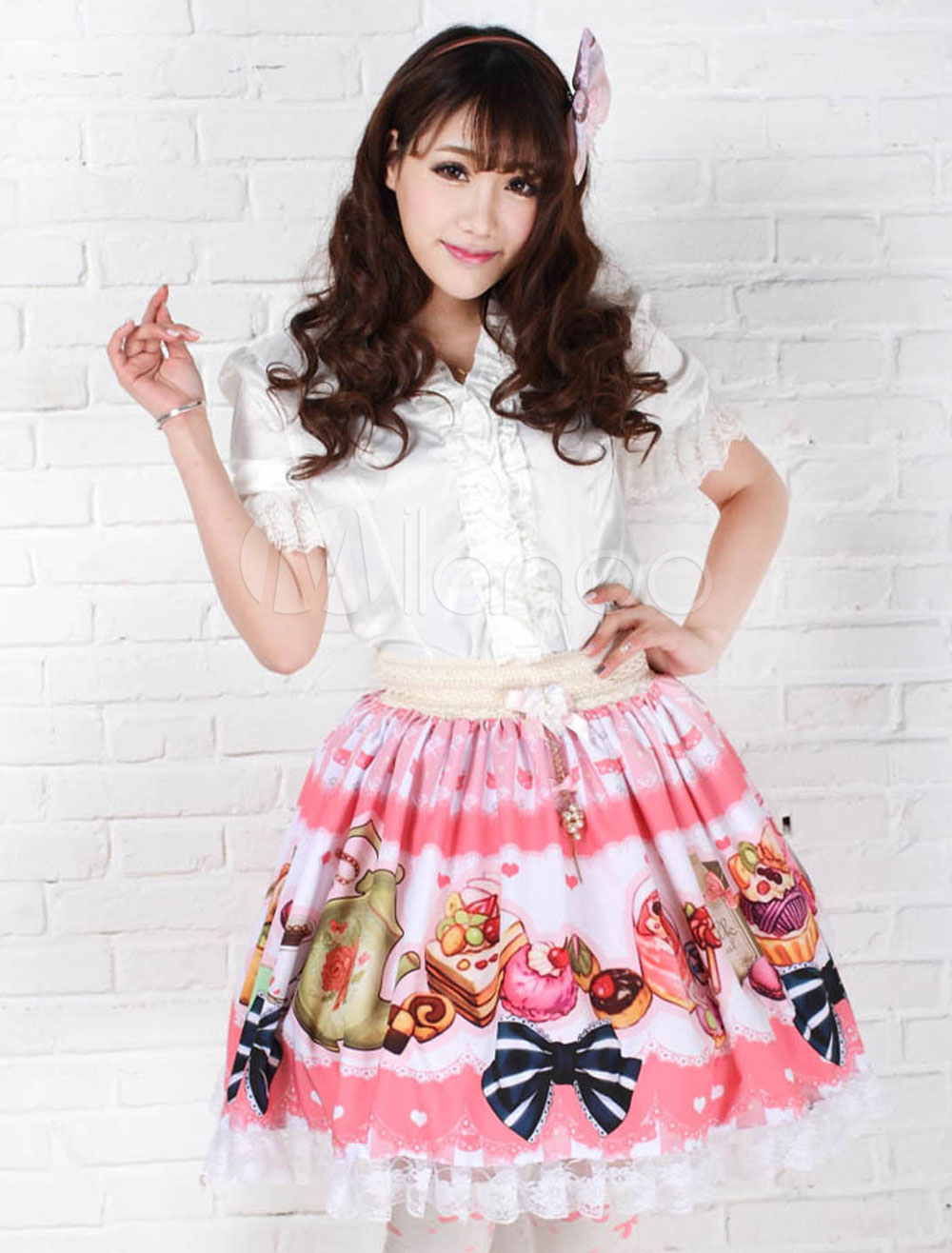 Buy Sweet Pink Lolita Short Skirt Print Polyester Lace Trim for $26.09 in Milanoo store