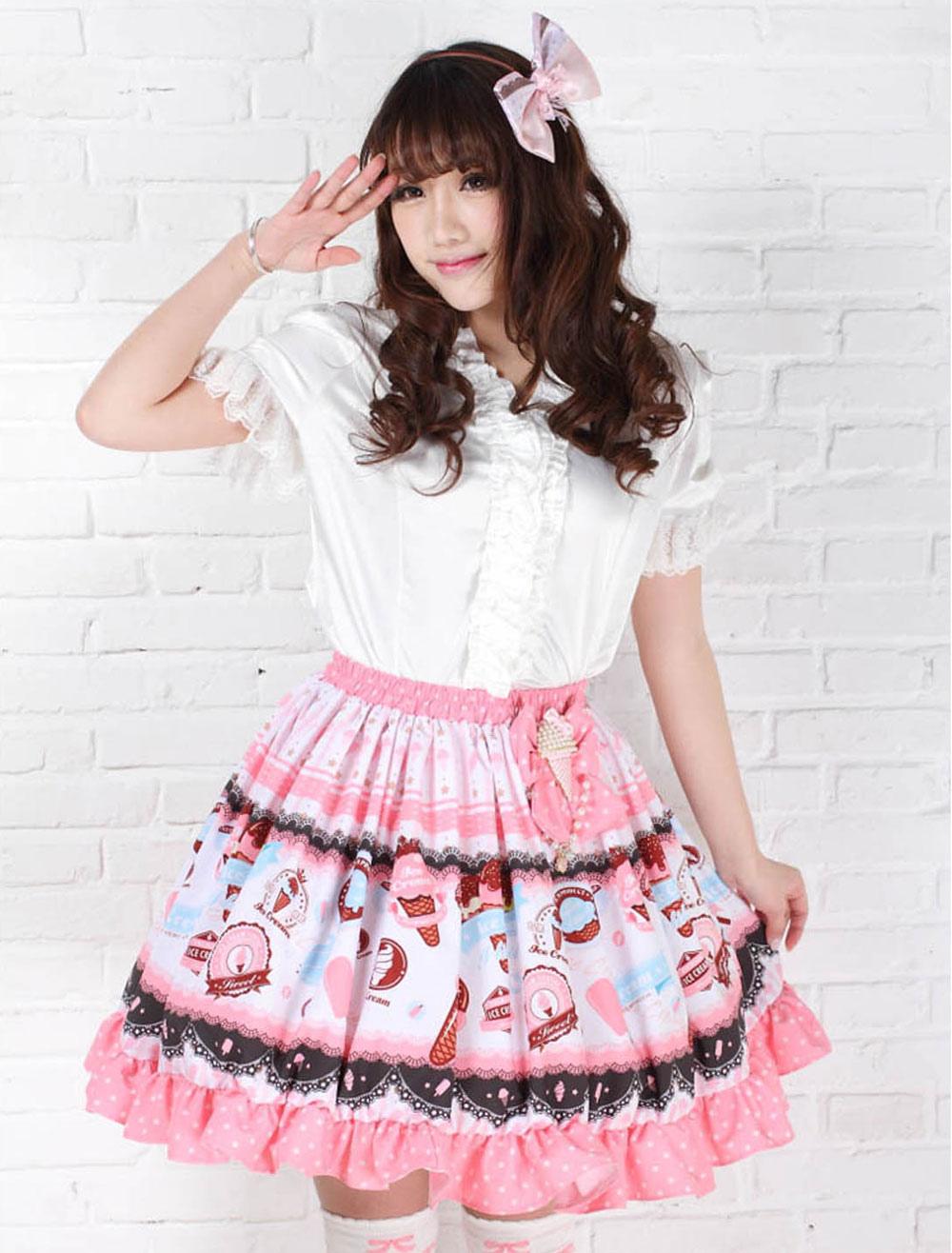 Sweet Lolita Skirt Strawberry Ice Cream SK Lolita Skirt