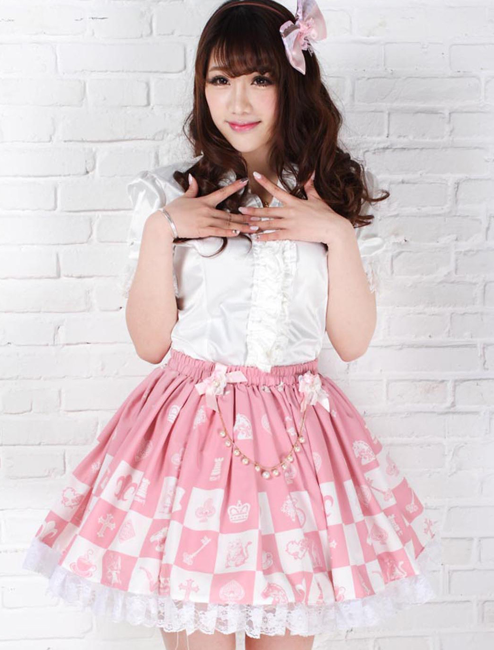 Sweet Lolita Dress Alice Chess Checkerboard Printed Sk Lolita Skirt