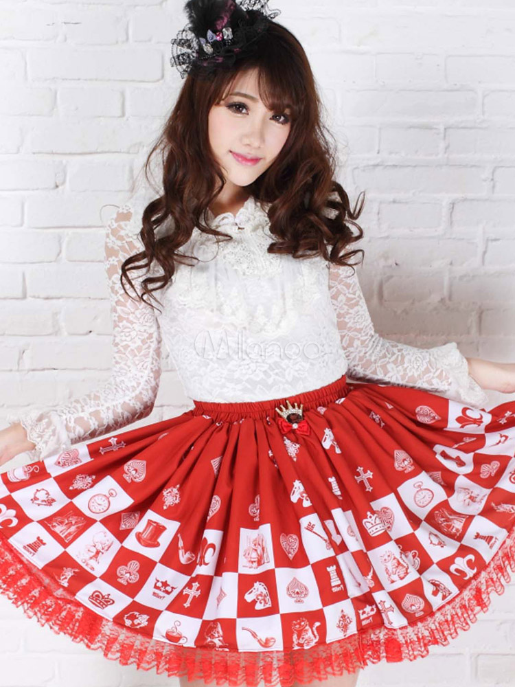 Red Polyester Lace Elegant Lolita Skirts