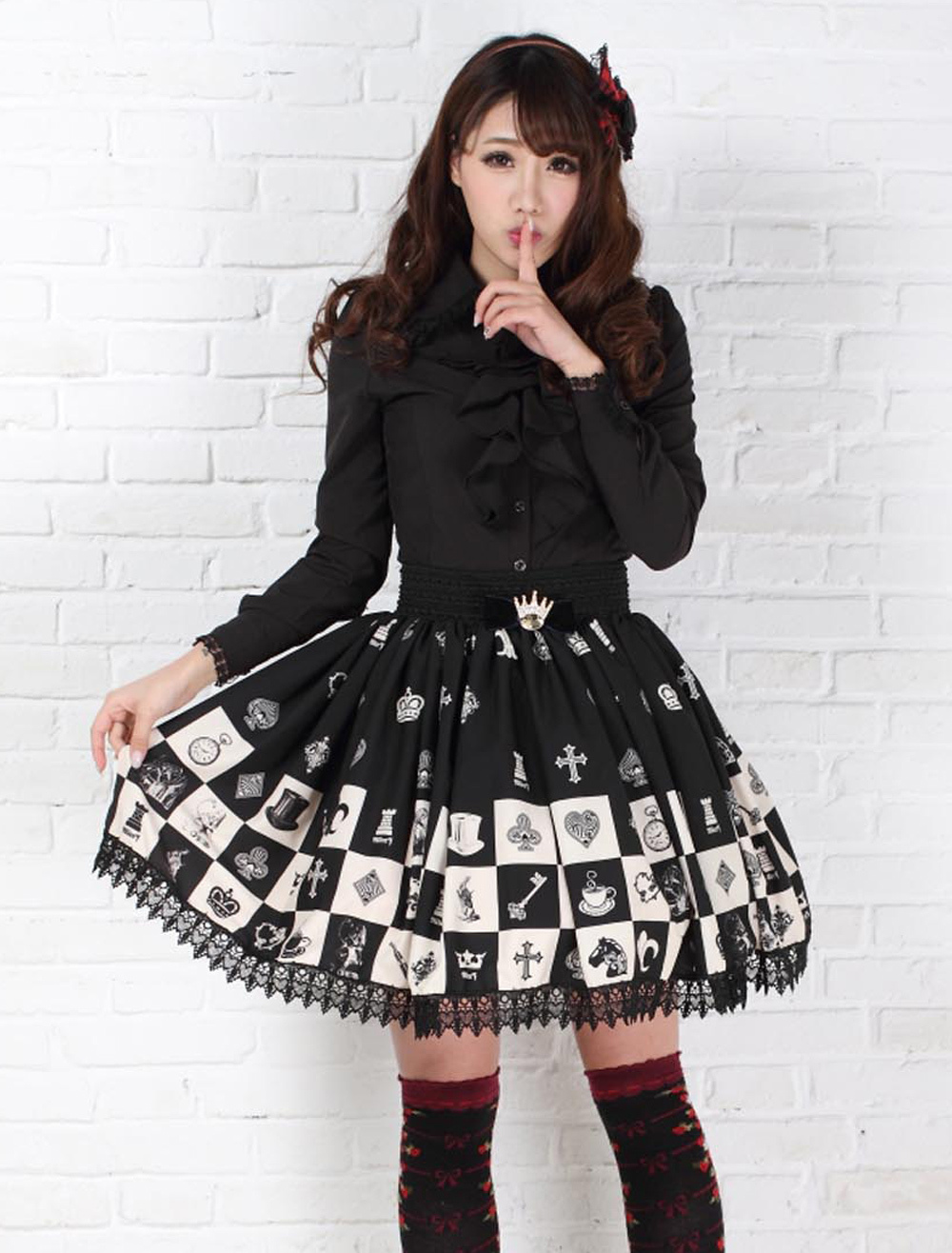 Buy Sweet Lolita Skirt Alice In Wonderland Chess Checkered SK Lolita Skirt for $28.99 in Milanoo store