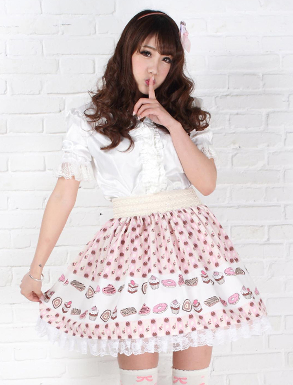 Lilac Polyester Lace Dandy Lolita Skirts