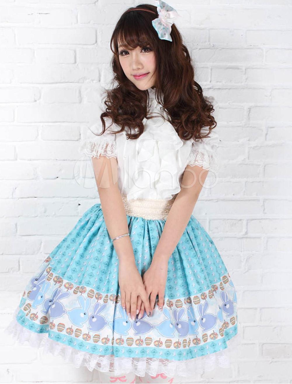 Blue Polyester Lace Angle Lolita Skirt
