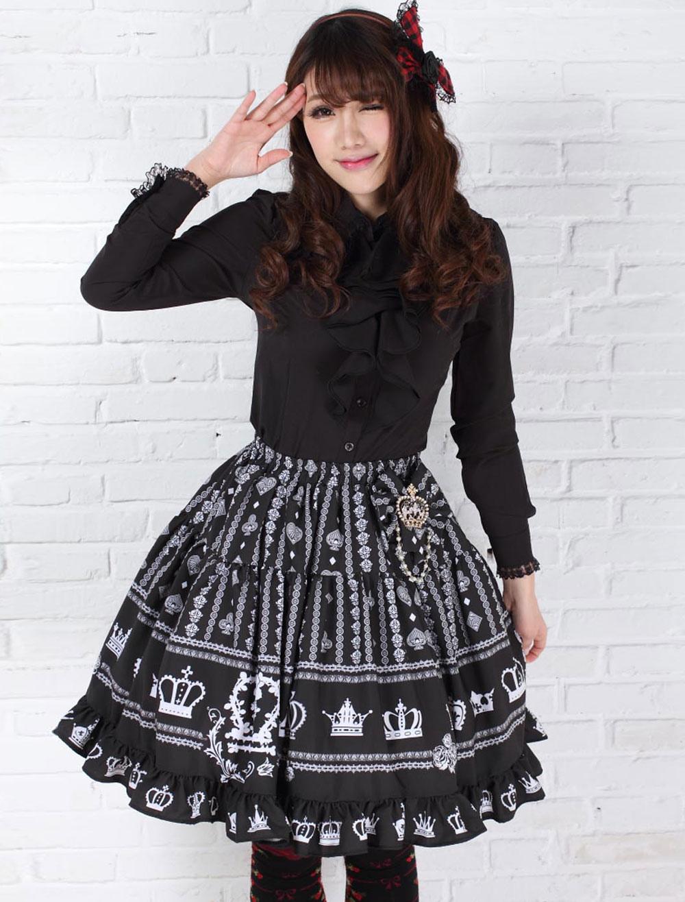 Elegant Black Polyester Lolita Skirt Sweet Printed Ruffles Trim