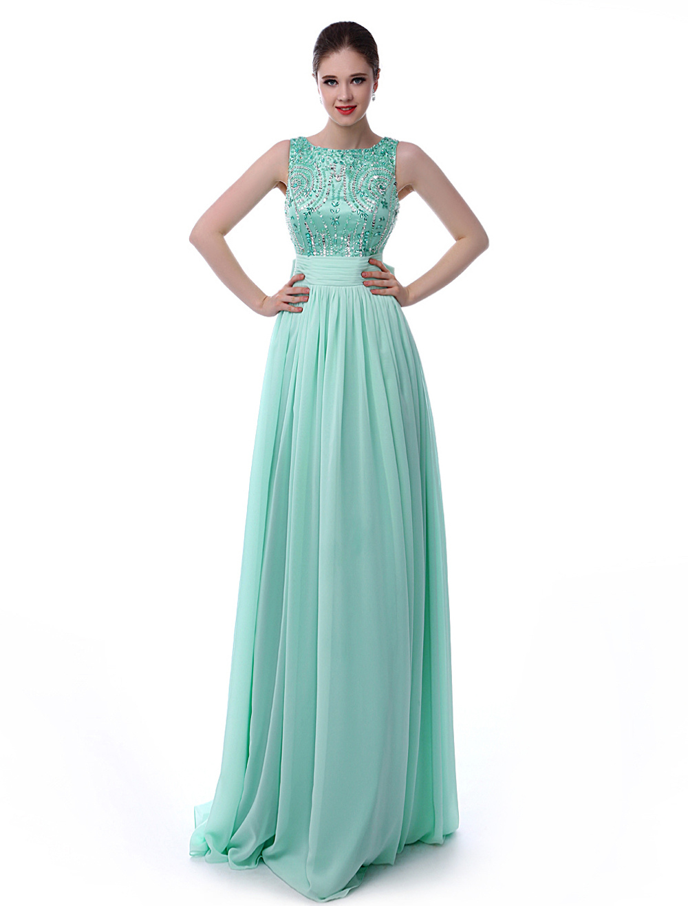 Buy Mint Green Prom Dress V-Back Rhinestone Bow Sash Sequins Chiffon Dress for $154.79 in Milanoo store