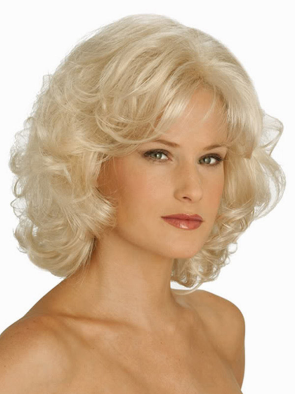 Buy Blonde Curly Heat-resistant Fiber Medium Wig For Woman for $27.59 in Milanoo store