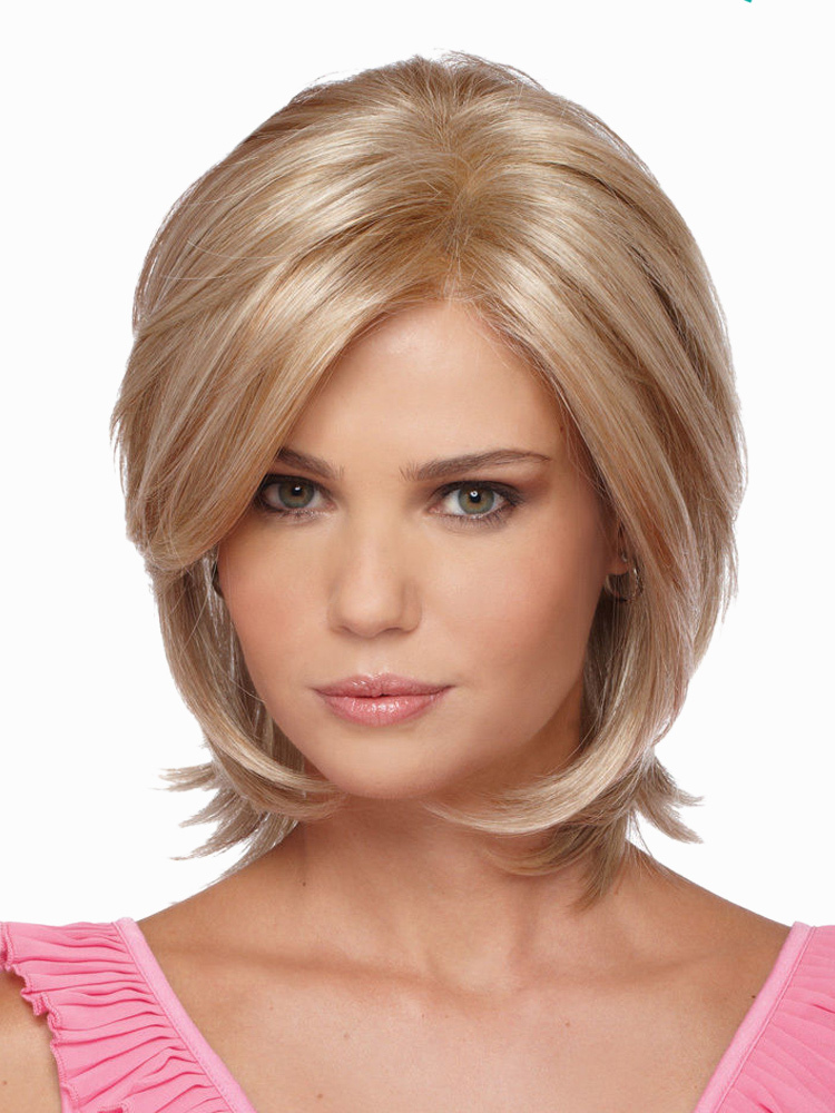 Gold Heat-resistant Fiber Straight Beautiful Womens Short Wig