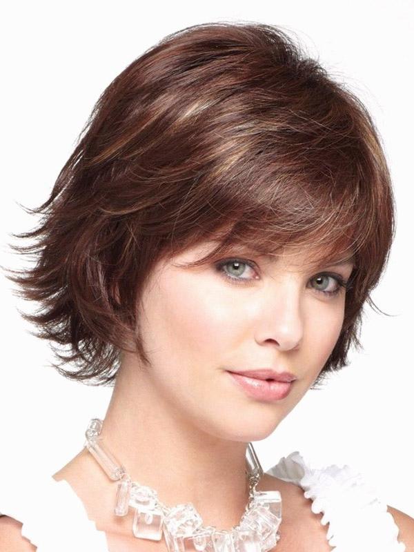 Brown Heat-resistant Fiber Straight Natural Womens Short Wig