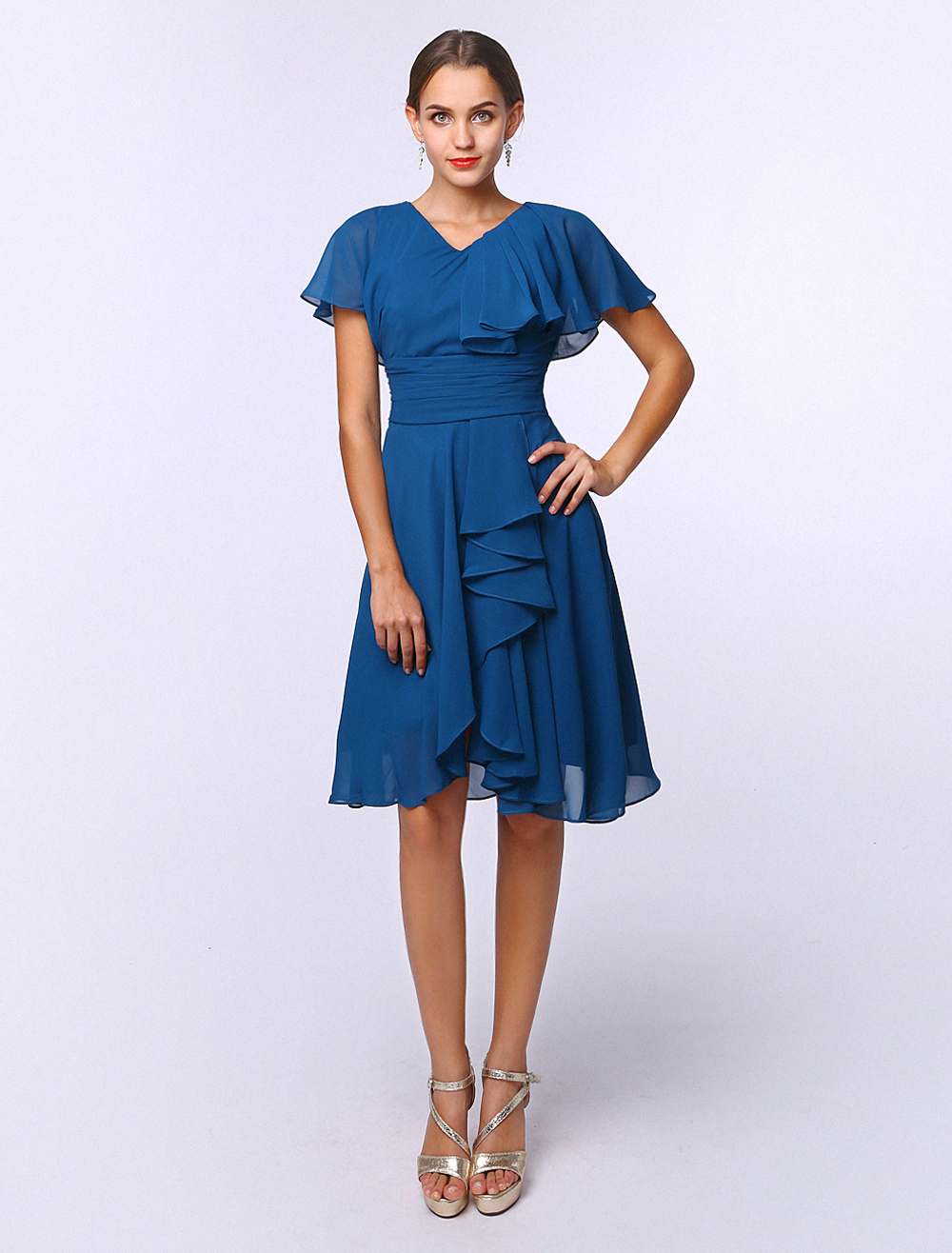 Buy Glamour Royal Blue A-line V-Neck Cascading Ruffle Short Sleeves Chiffon Bridal Mother Dress for $119.99 in Milanoo store