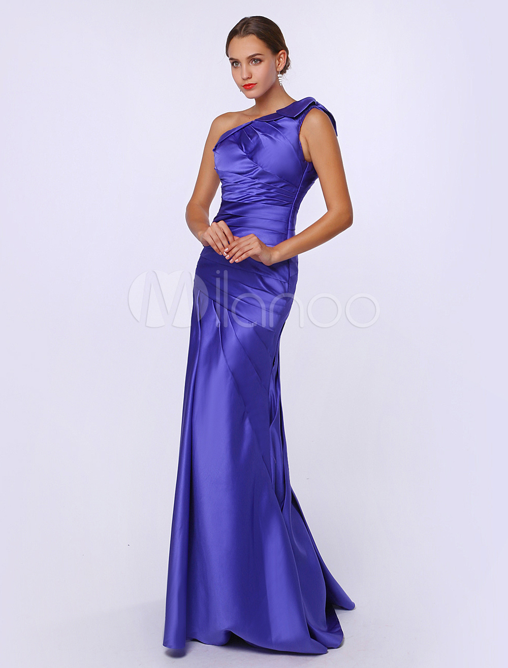 Royal Purple Mother Of Bride Dress Satin Mermaid One Shoulder Sleeveless Floor Length Wedding Party Dress