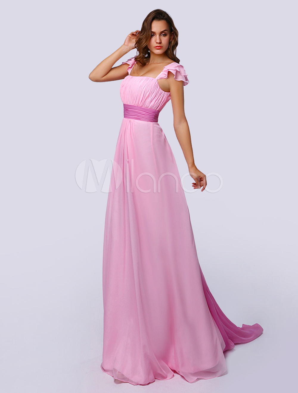 A-line Blushing Pink Chiffon Prom Dress With Square Neck Sash