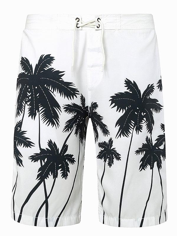 Men Beach Shorts Palm Tree Tropical Print White Summer Shorts