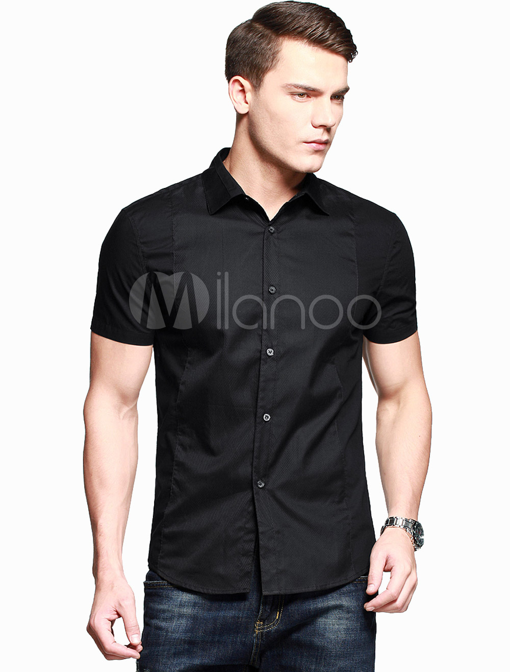 Pure Cotton Shaping Short Sleeves Spread Neck Casual Shirt For Men