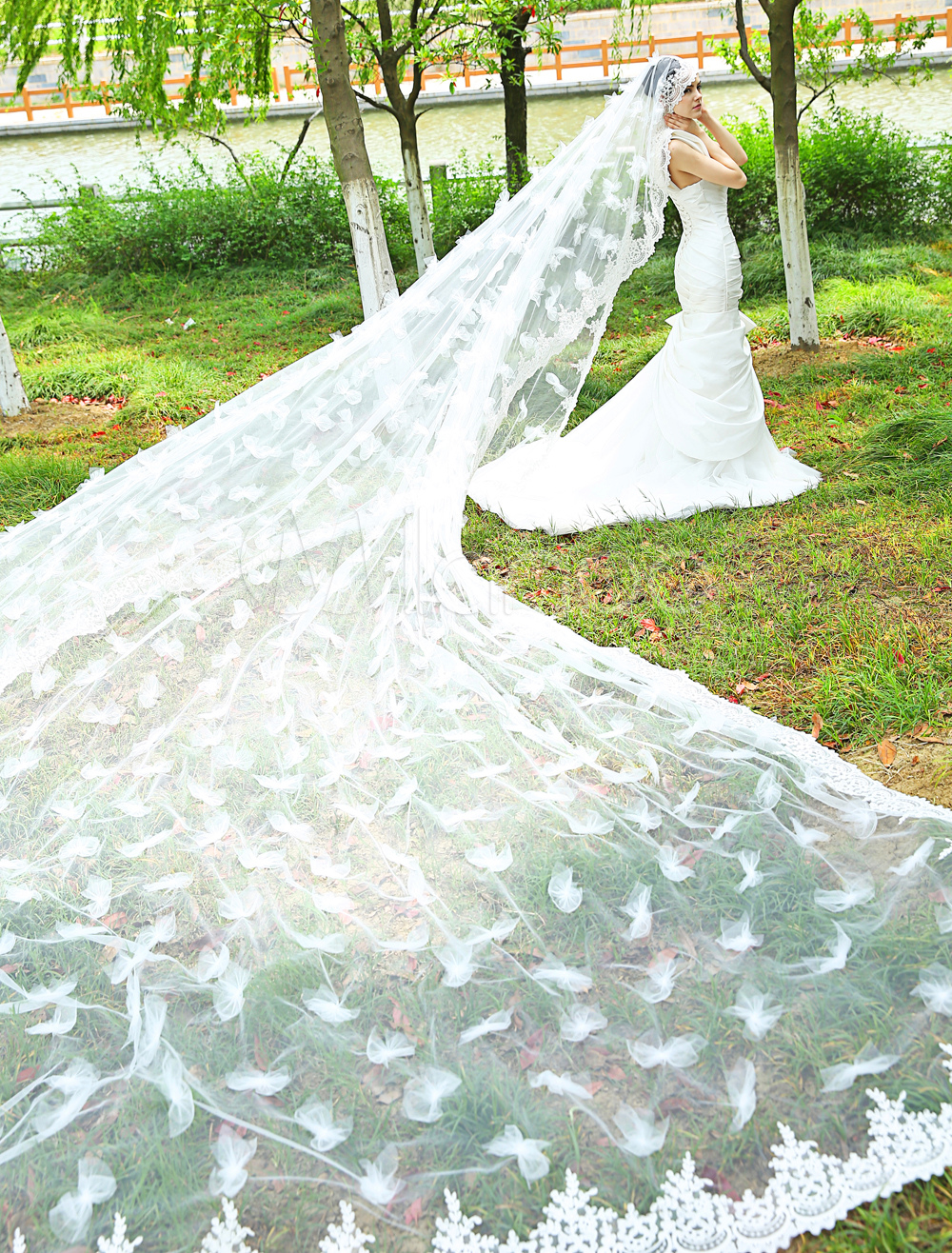 Exclusive Ivory Tulle Bow Flower Waterfall Lace Wedding Cathedral Veil Length 5m Milanoo