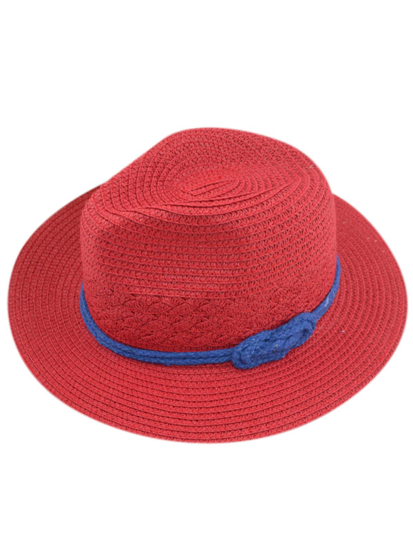 Red Bow Color Block Straw Practical Hats For Women